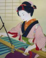 美人画/機織り-hataori