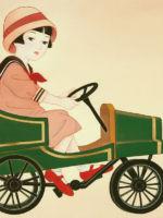 童女画/三輪車に乗る少女