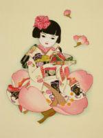 童女画/ひな人形-hinaningyou