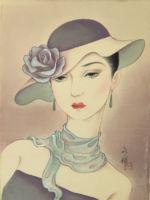 モダンガール/バラの帽子の女